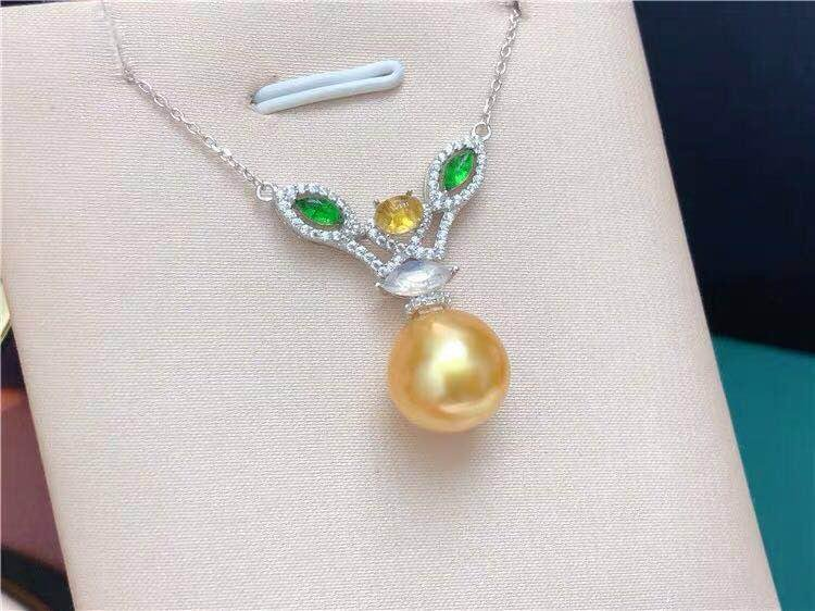 South sea gold en  pearl 925 silver pendant