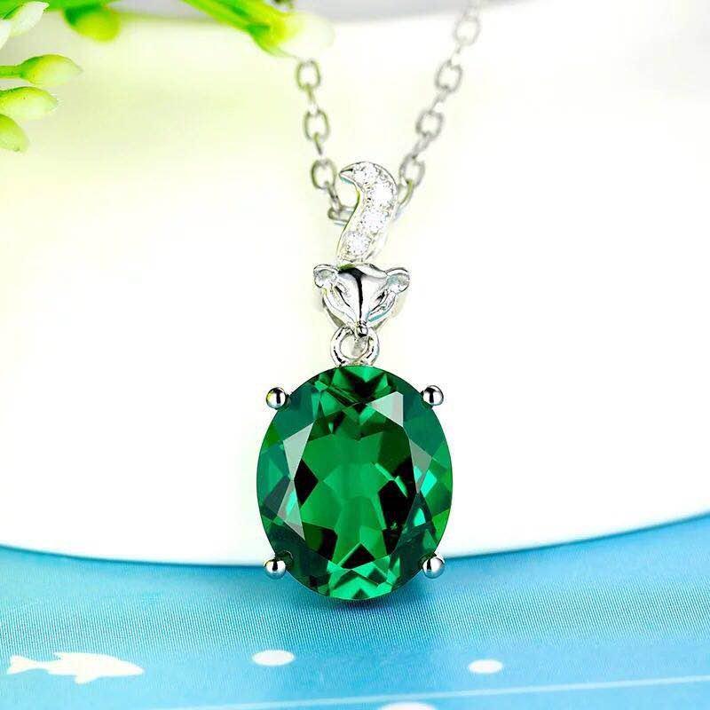 925 Silver 6.01ct Emerald 0.041ct Diamond Pendant