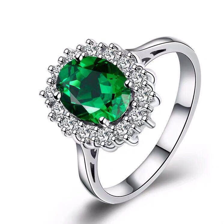 925 Silver 2.51ct Emerald 0.412ct Diamond Ring