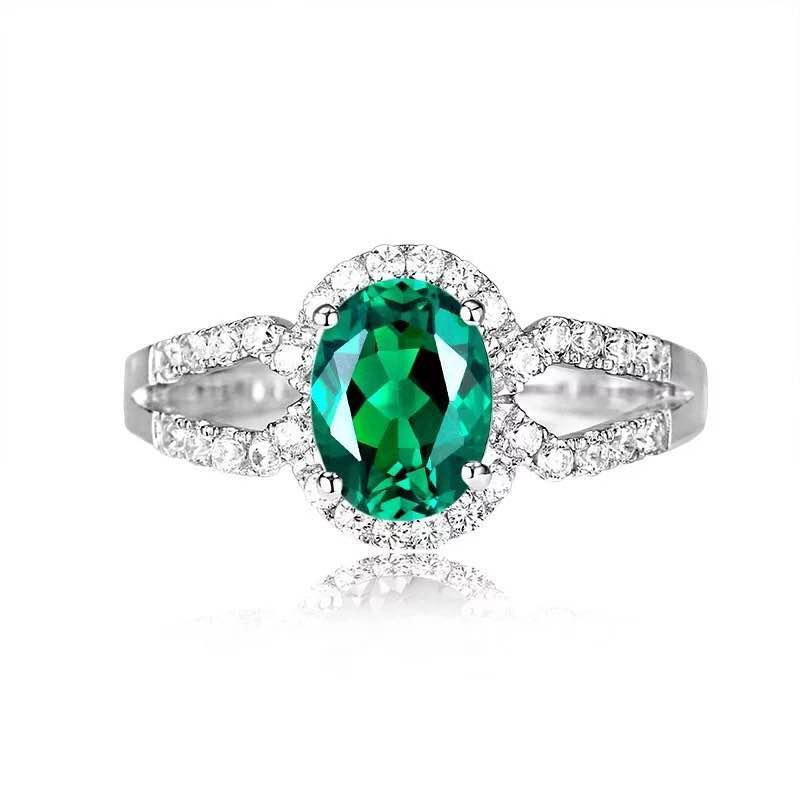 925 Silver 1.51ct Emerald 0.321ct Diamond Ring