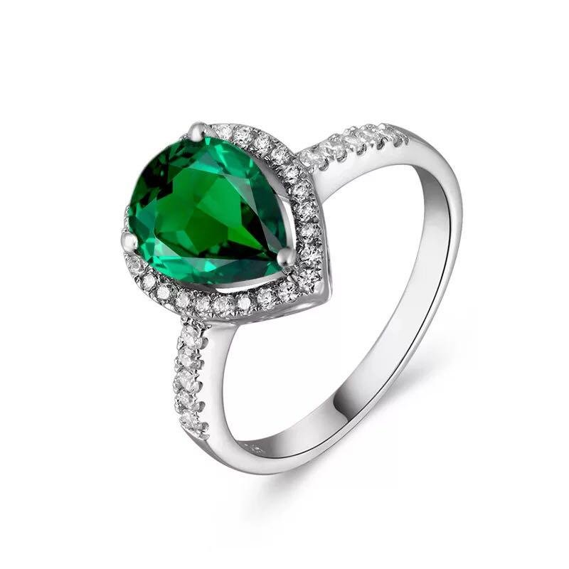 925 Silver 2.51ct Emerald 0.661ct Diamond Ring