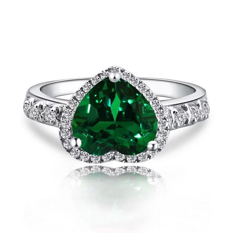 925 Silver 2.31ct Emerald 0.331ct Diamond Ring