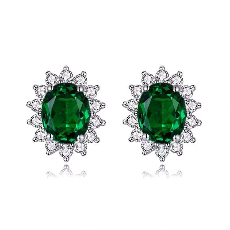 925 Silver 3.01ct Emerald 0.311ct Diamond Earrings
