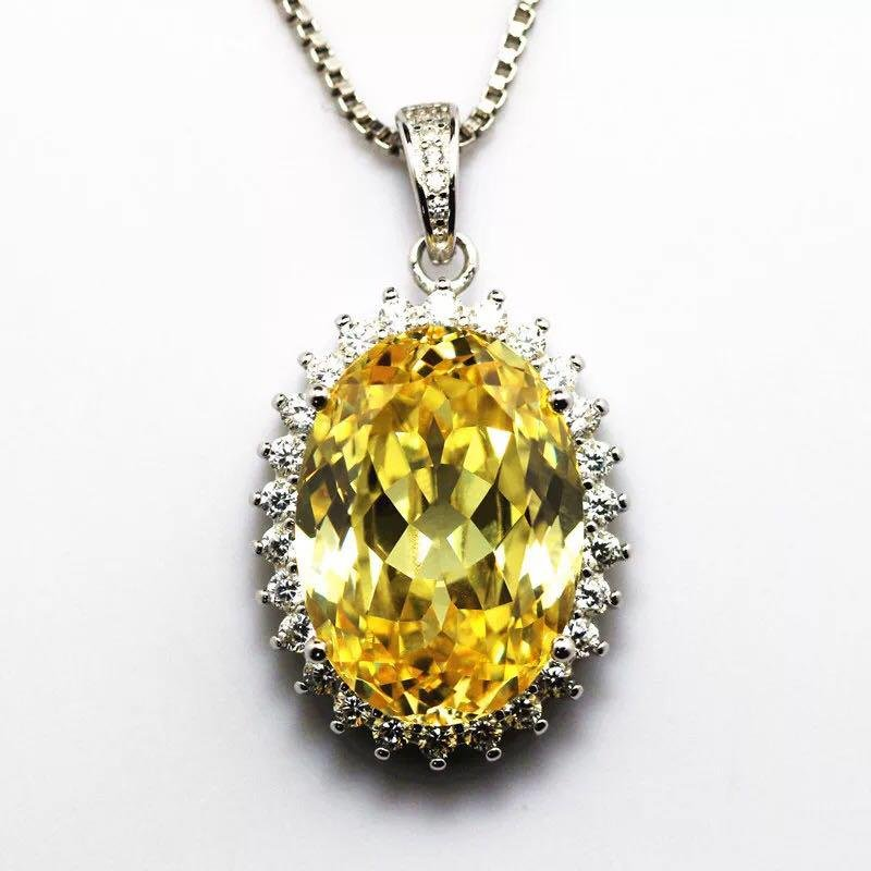 925 Silver 10.63ct Yellow Gem 0.651ct Diamond Pendant