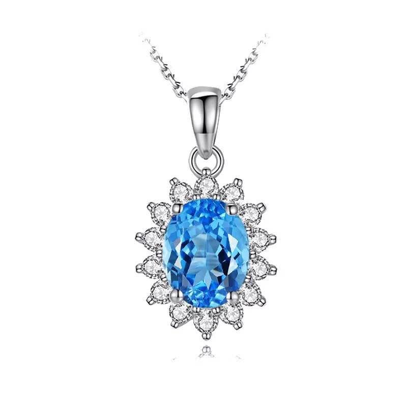 925 Silver 2.5ct Topaz 0.181ct Diamond Pendant