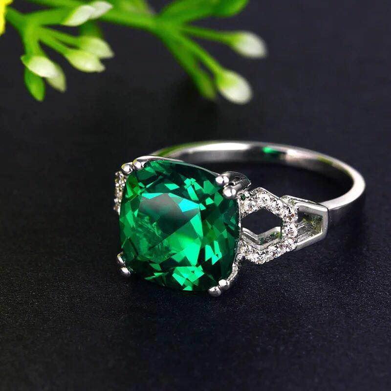 925 Silver 4.21ct Emerald 0.181ct Diamond Ring