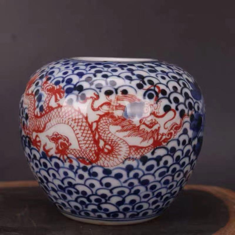 A BLUE WHITE UNDERGLAZE RED PORCELAIN PENWASHER WITH