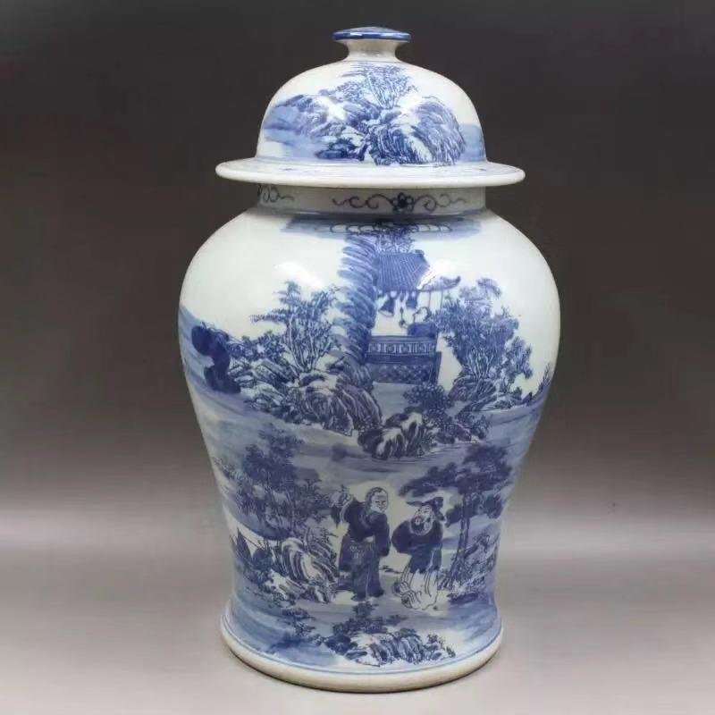 A BLUE WHITE JAR WITH CHARACTER PAINTING