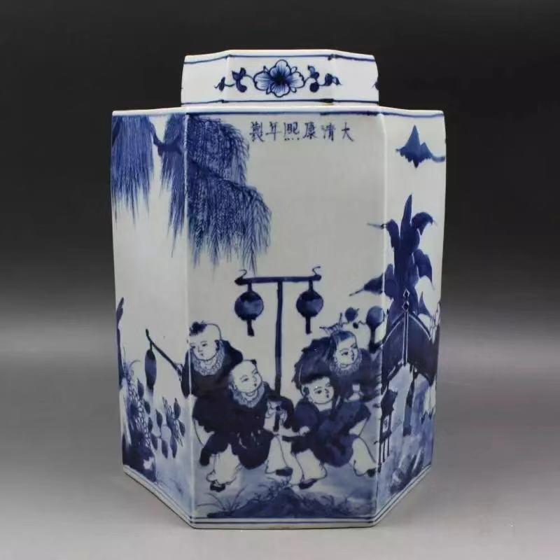 A KANGXI MARK BLUE WHITE JAR WITH CHARACTER PAINTING