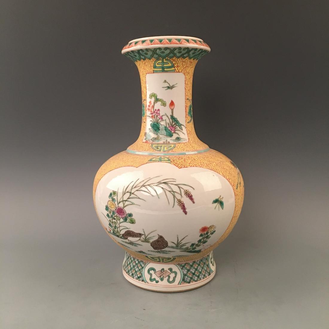 Chinese Famille Rose Bird Vase with Kuanxi Mark