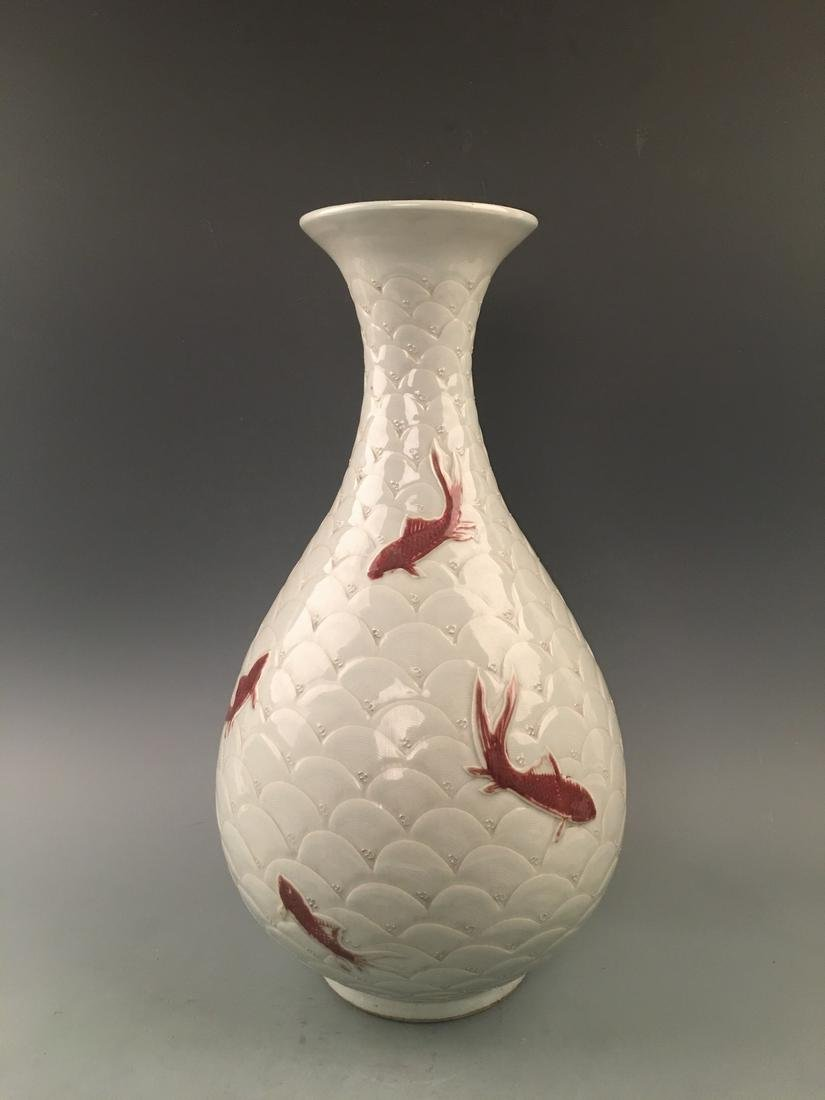 Chinese Copper Red Fish Vase