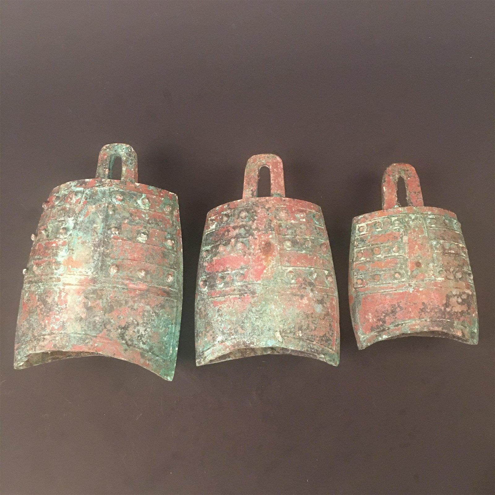 Three Chinese Bronze Chimes