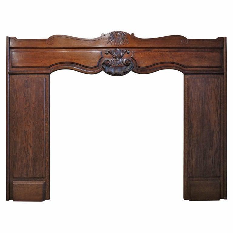 French Louis XV antique oak fireplace 19thC France