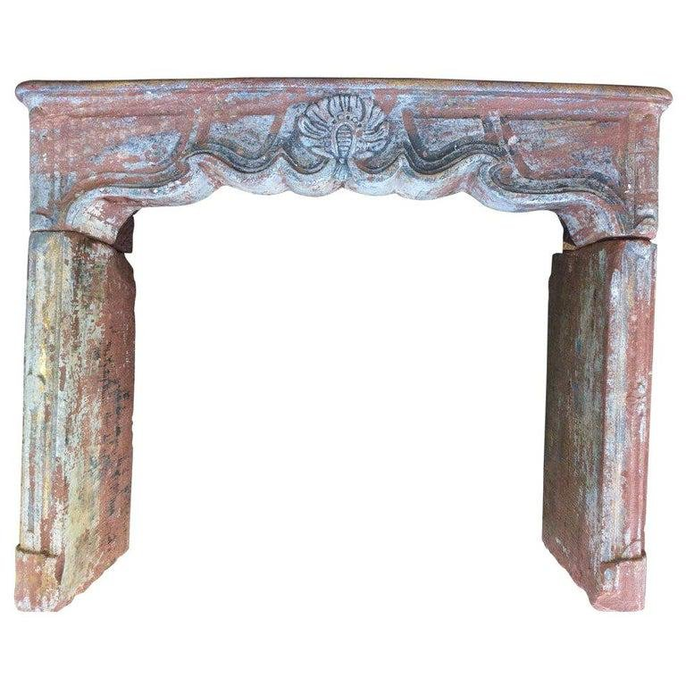 French antique stone fireplace Louis XV 18th Century