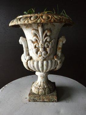 "French antique urn ""Fleur de Lys"" iron from France"