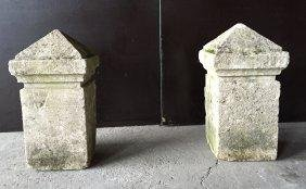 French antique limestone small columns (pair) France