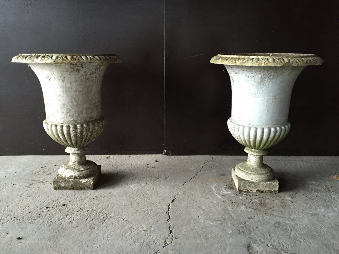 French antique Medici iron urns (pair) from France