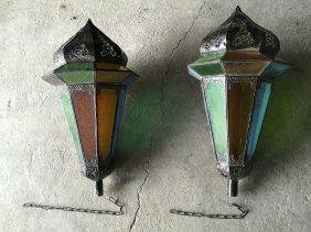 French antique lantern iron glass (pair) from France