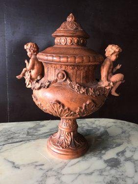 French Renaissance style angels urn terra cotta France