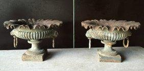 French Medici antique iron urns (pair) from France