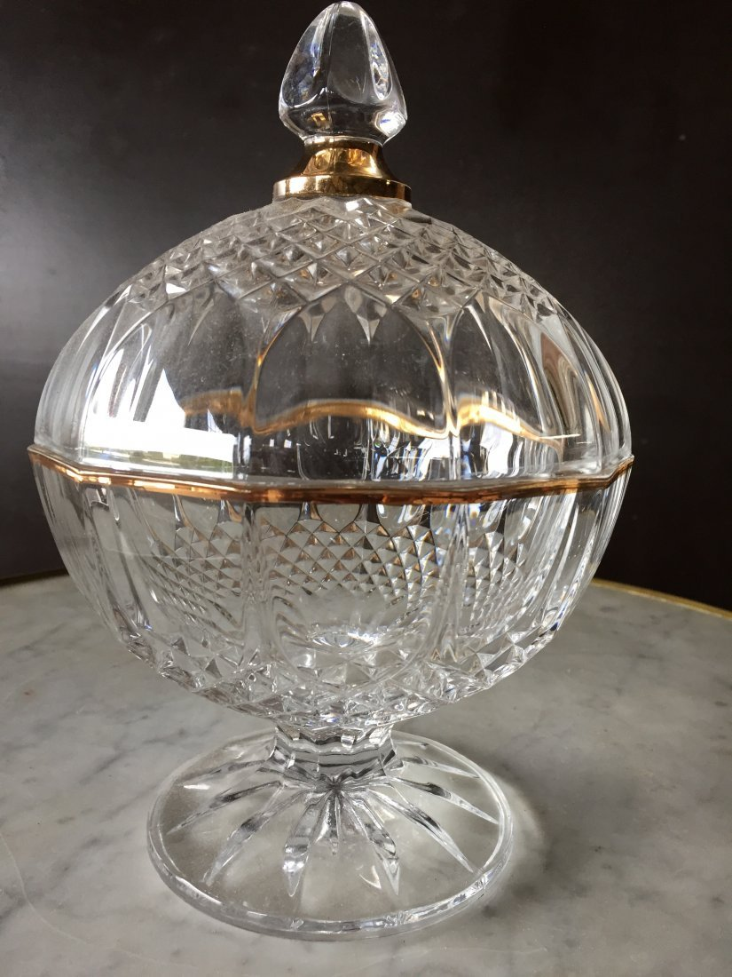 French antique crystal table globe top from France