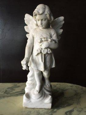 French antique Angel marble statue hand-carved France