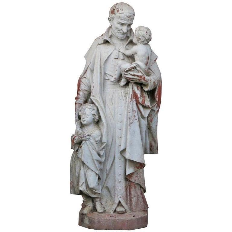 Statue Saint Vincent de Paul Style in Terra-Cotta 20thC