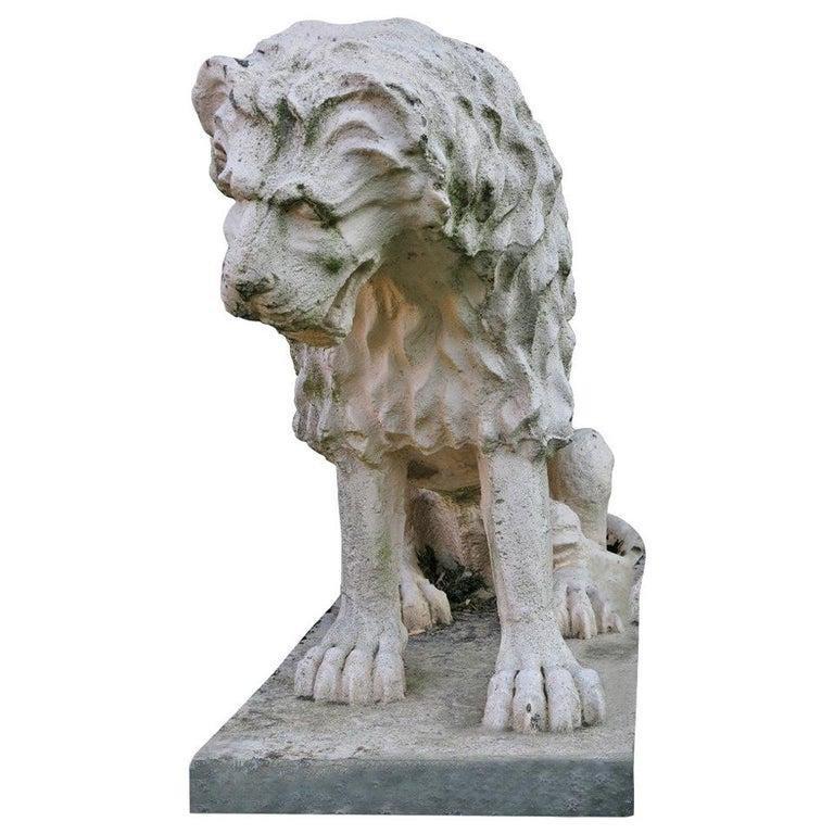 Statue Renaissance Lion, Antonio Canova style 1900s