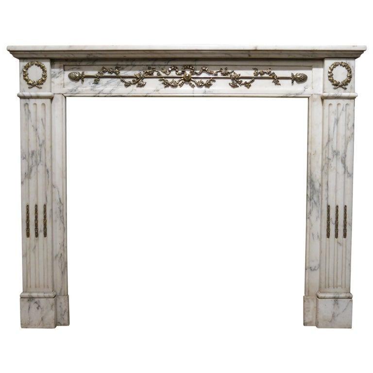Parisian Louis XVI Style Fireplace White Marble 19th C