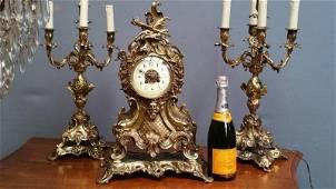 French antique Bronze Clock Candelabras 19th C Paris