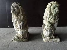 2 French Antique Stone Lions Renaissance France