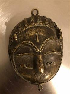Antique Mask Brass Wall Decoration 20th Century