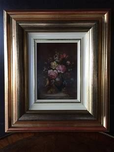 Art work painting signed wood frame original France
