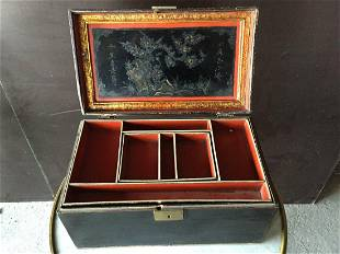 Asian antique wood travel case different sections