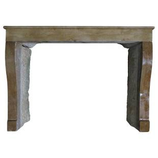 French Countryside Antique Stone Fireplace 19thC