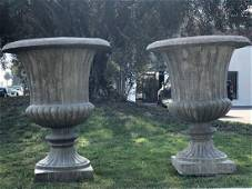 French large urns pair cast stone from Provence France