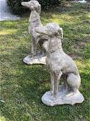 2 French dogs statues cast stone from Provence, France