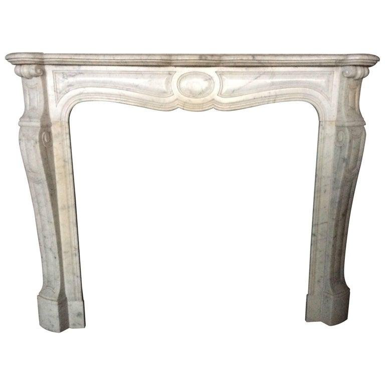 French Antique White Marble Fireplace Louis XV Style