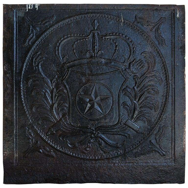 French antique Star fireback in cast iron 18th Century