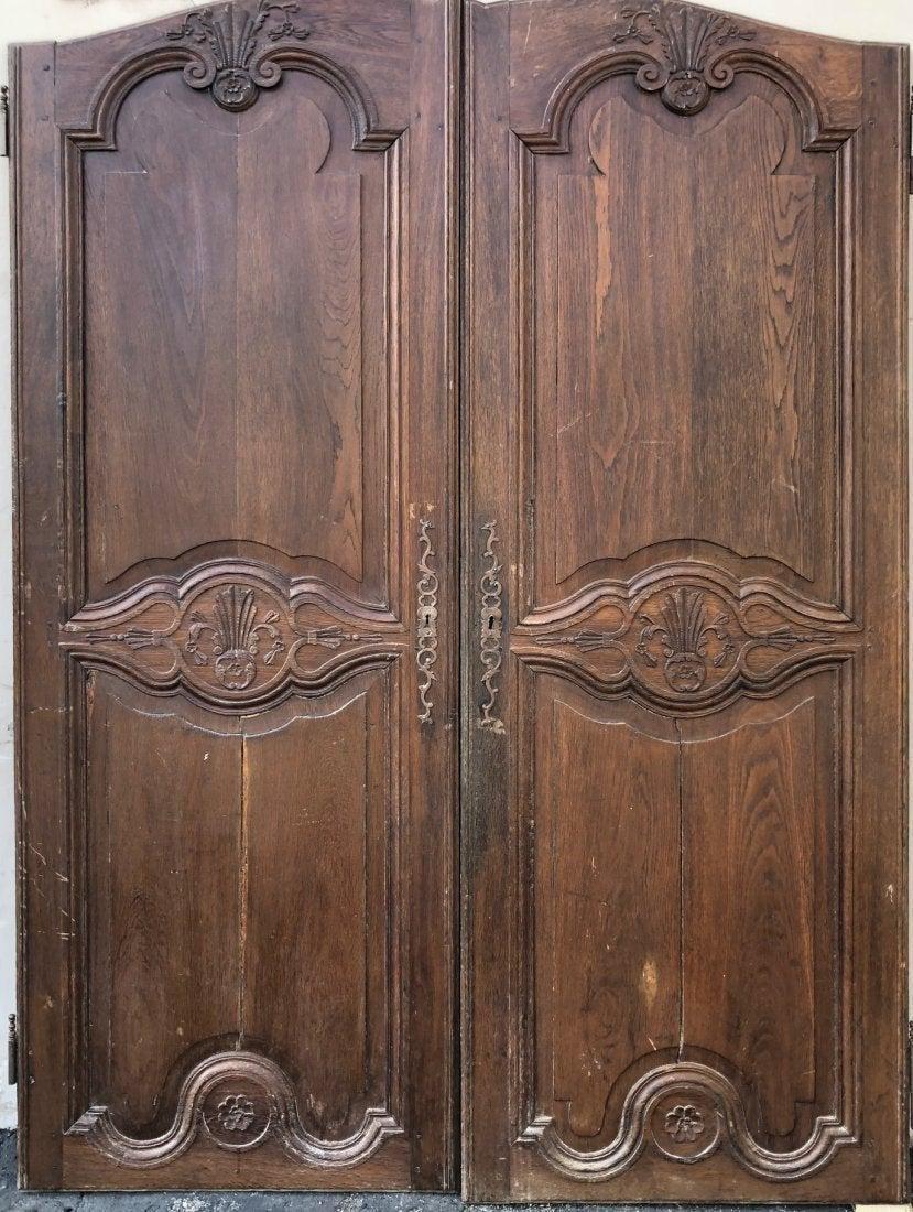 2 French Antique wood oak door Louis XV 1800s