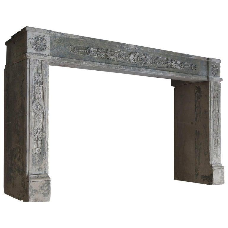 French antique fireplace Normandy France 19th C