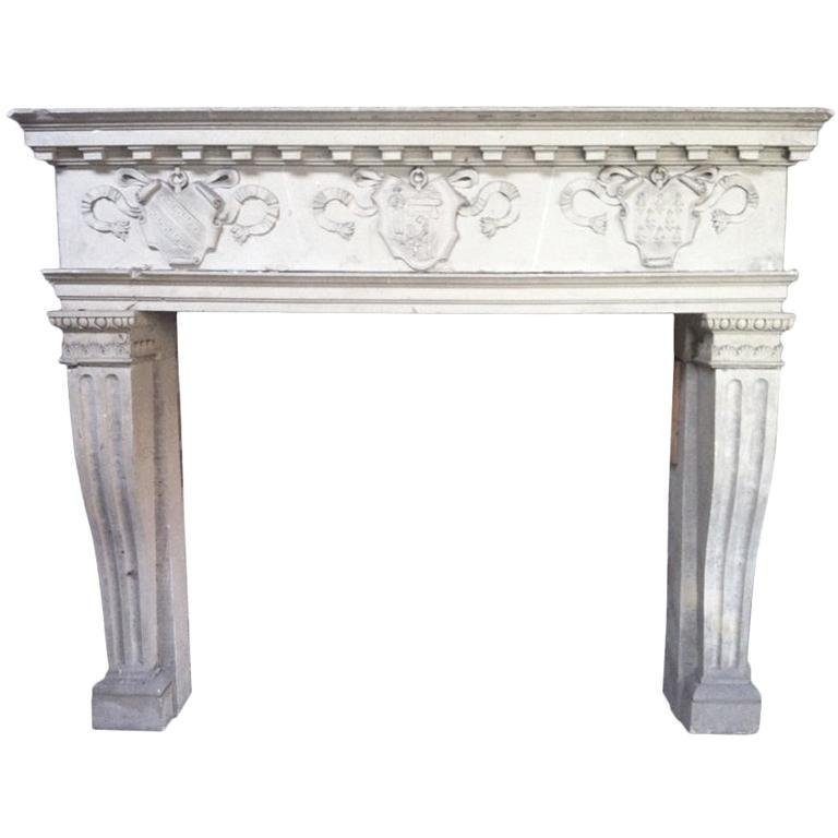 French antique fireplace Renaissance style 19th C