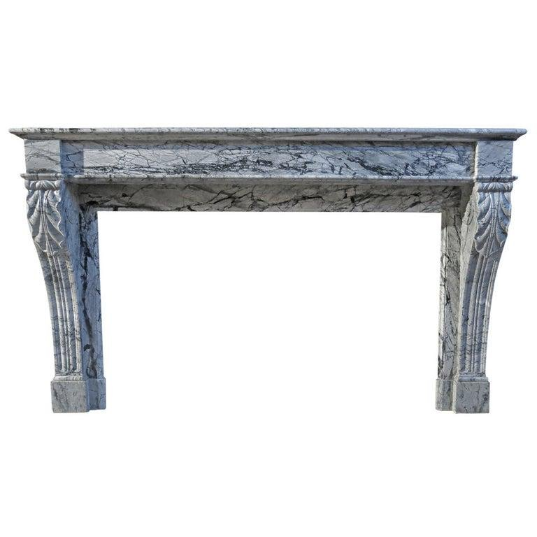 French Antique Marble Fireplace bleu turquin 19thC