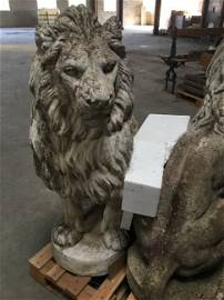 Pair French Lions stone Canova style 20th C France