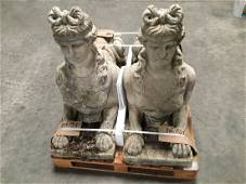 Pair of French large sphinges stone 20thC Paris France