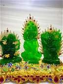 Qianlong Made A Set Carved Green Jade Buddha Inlay Gems