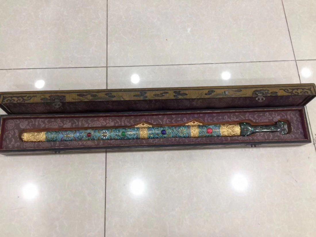 Qianlong Impreial Sword Cloisonne Scabbard Inlay Gem