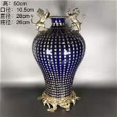 Qing Dys Double Lion Blue Sapphire Glaze Ground Vase