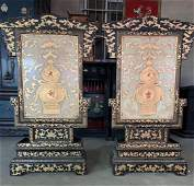 Qing Dys Large Pair White Jade Canved Chinese Lucky