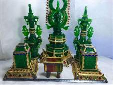 Qianlong Set of Carved Green Jade Buddha inlay Gems